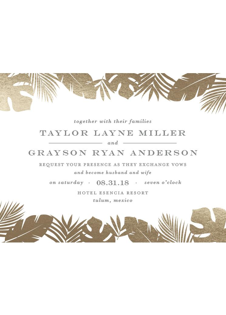 Gilded Palm Foil-Pressed Wedding Invitations