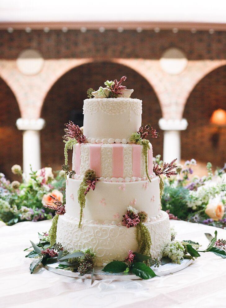 White Wedding Cake With Filigree Piping