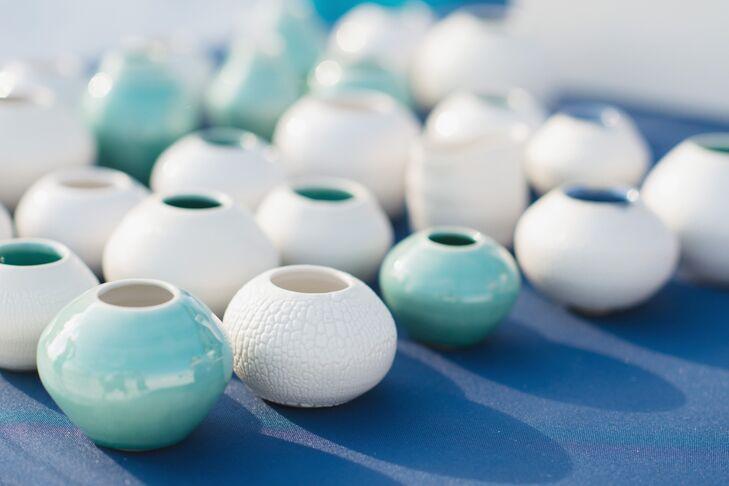 Teal And White Handmade Vase Wedding Favor
