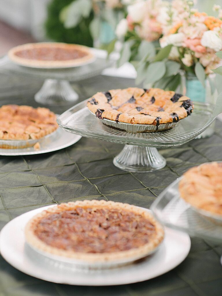 Southern Wedding Food Dessert Option With Pecan Bluberry And Apple Pies