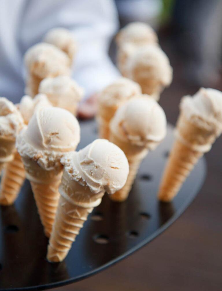 Vanilla ice cream cone dessert tray