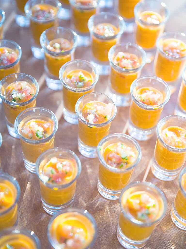 Cocktail hour ideas for a creative wedding reception menu idea