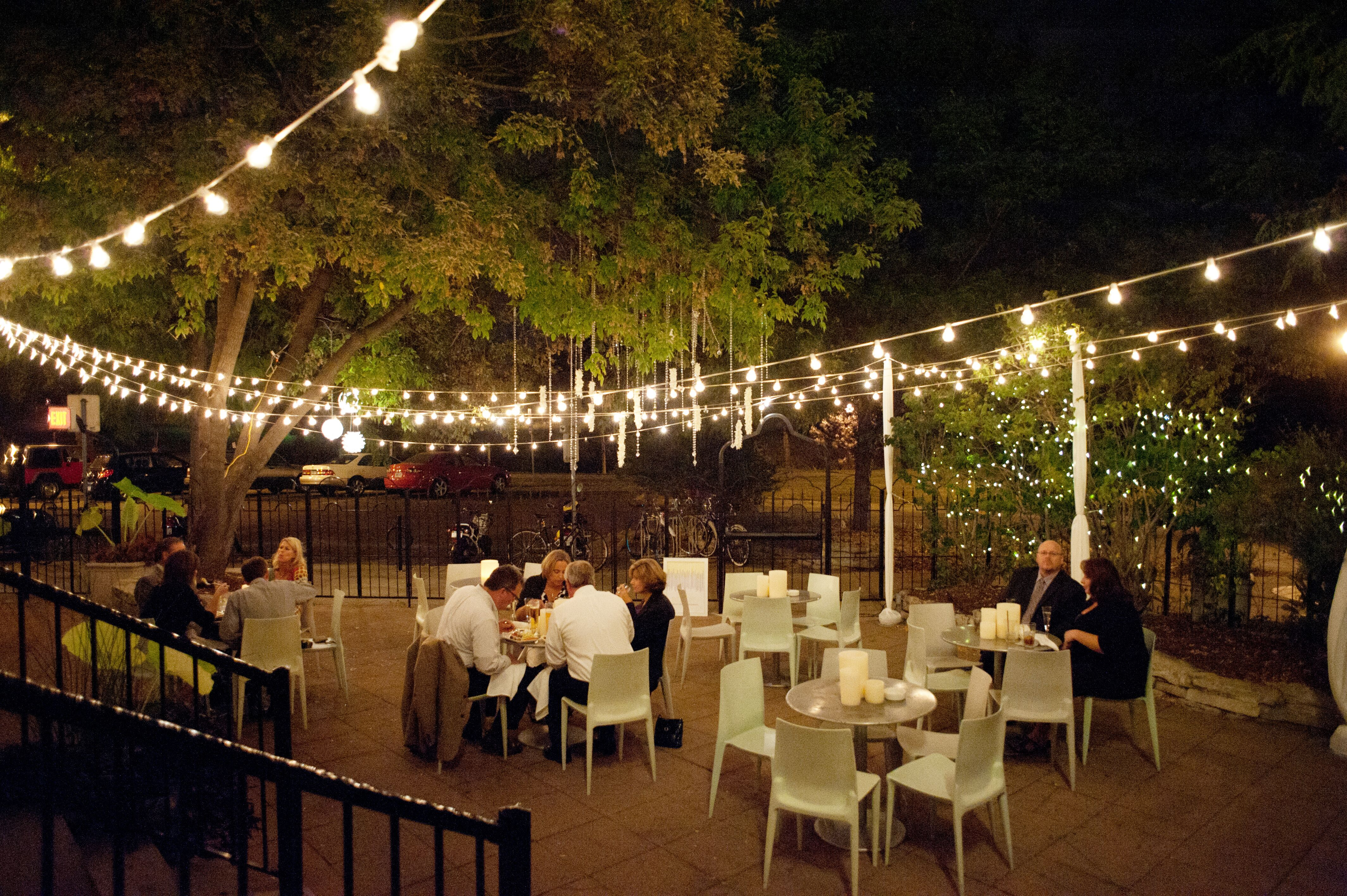 The Outdoor Nighttime Reception with String Lights at Cafe & Bar Lurcat