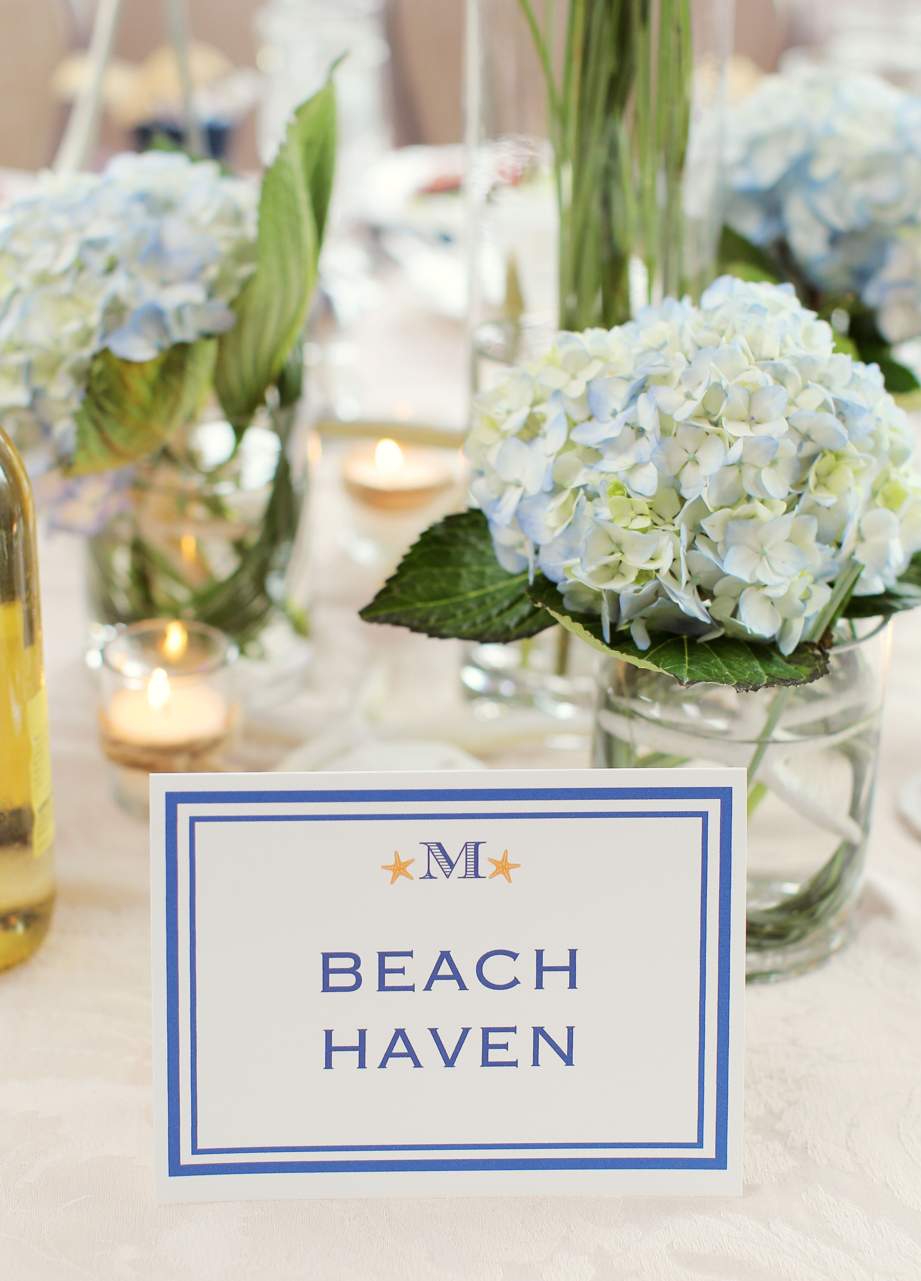Blue And White Beach Themed Table Names