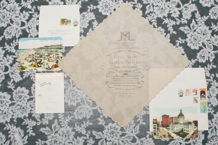 In keeping with the event's vintage theme, Esme and Matthew had the Polka Dotted Bee create custom invitations printed on delicate vintage-style handkerchiefs. Each was sent with an information card printed on postcards from the couple's home states: Massachusetts and Missouri.