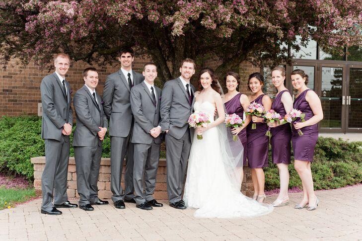 Plum and Gray Bridesmaid Dresses
