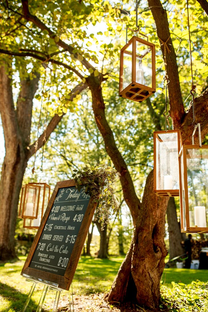 A Modern Chalkboard Wedding Sign and Hanging Lanterns at the Buchanan Farmhouse