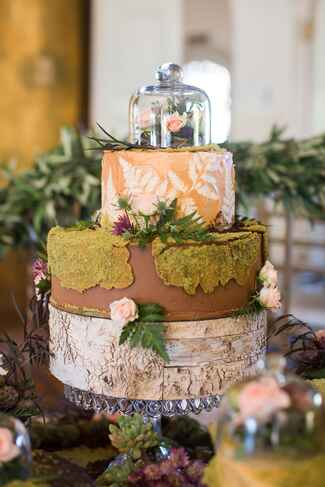 Rustic-themed wedding cake decoration
