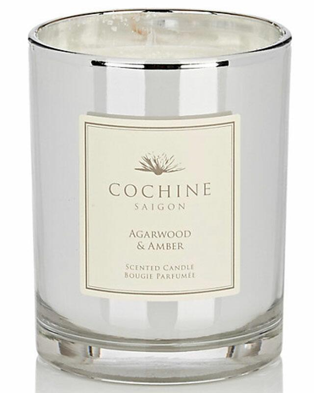 agarwood and amber scented candle