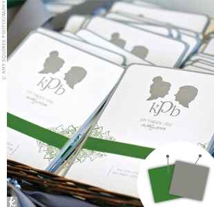 Green and gray wedding programs