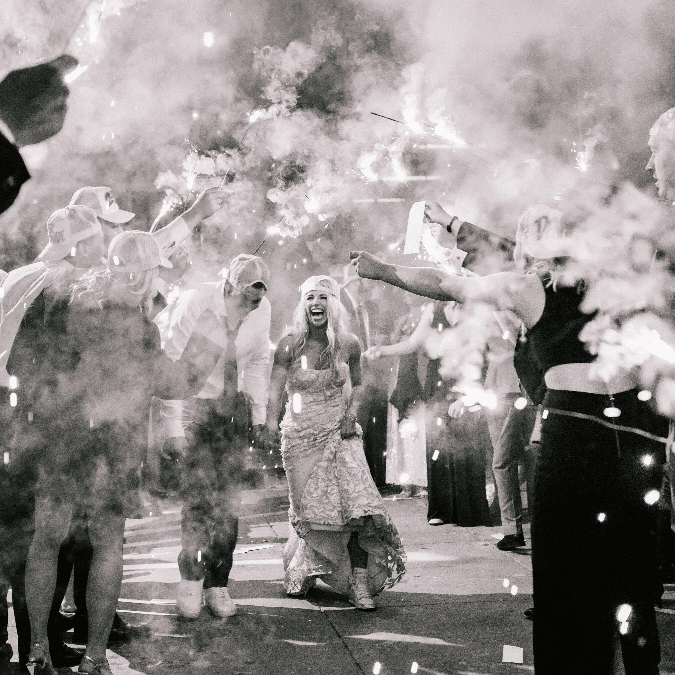 Bride And Groom Sparkler Wedding Exit