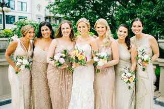 bridal party with mix and match gold bridesmaid dresses