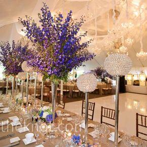 real weddings dahlia cockscomb bouquet with blue delphinium accents photo