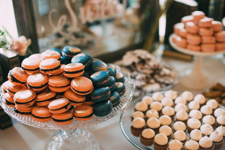 Instead of just serving wedding cake after dinner, Katherine and Jon decided to give guests a more interactive dessert experience. The couple provided a vast array of dainty treats for their friends and families to enjoy, including French macarons in a variety of flavors, perfectly frosted mini cupcakes and assorted cookies.