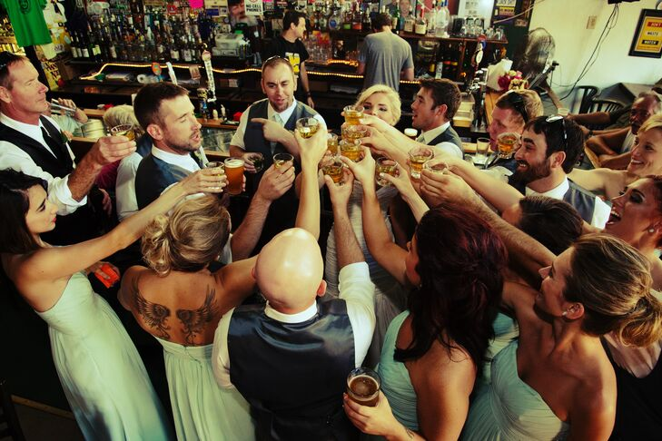 Mint Wedding Party Toasts With Shots In Monclova Ohio