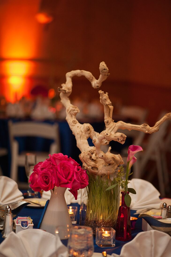 Pink Rose And Calla Lily Centerpieces With Branches