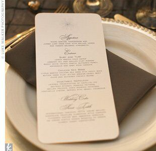 Silver Napkins And Beaded Chargers Coordinated With The Crystal Embellished Menu Cards