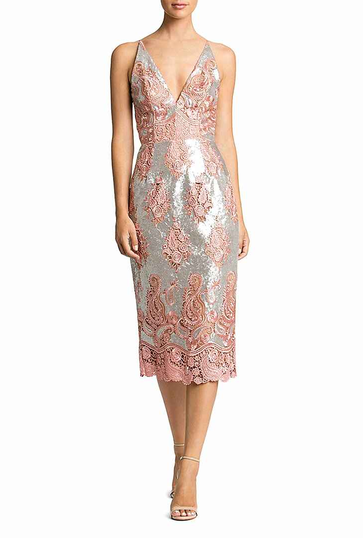 Sequin and lace beach wedding guest dress