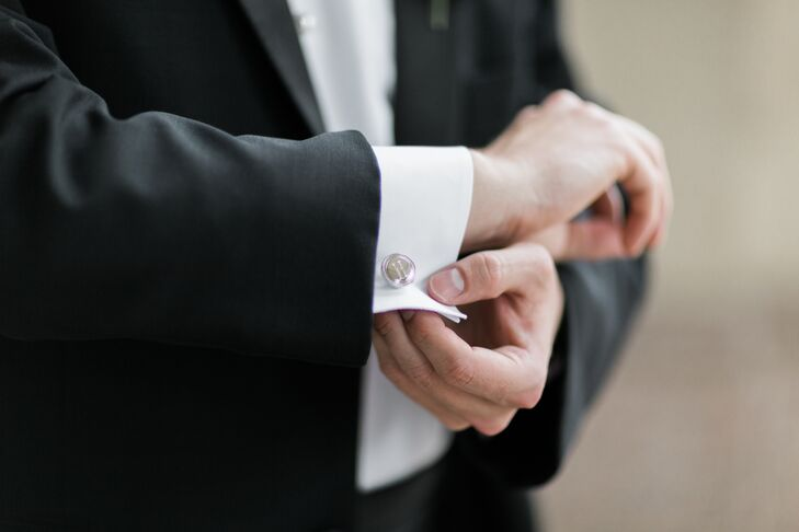 The groom wore a Ralph Lauren tuxedo with engraved cuff links and studs, a gift from the bride. (Margaret also gave Todd a set of vintage New England Patriots cuff links. Todd intuitively understood that those were best saved for a different occasion—in their new home in Boston.)