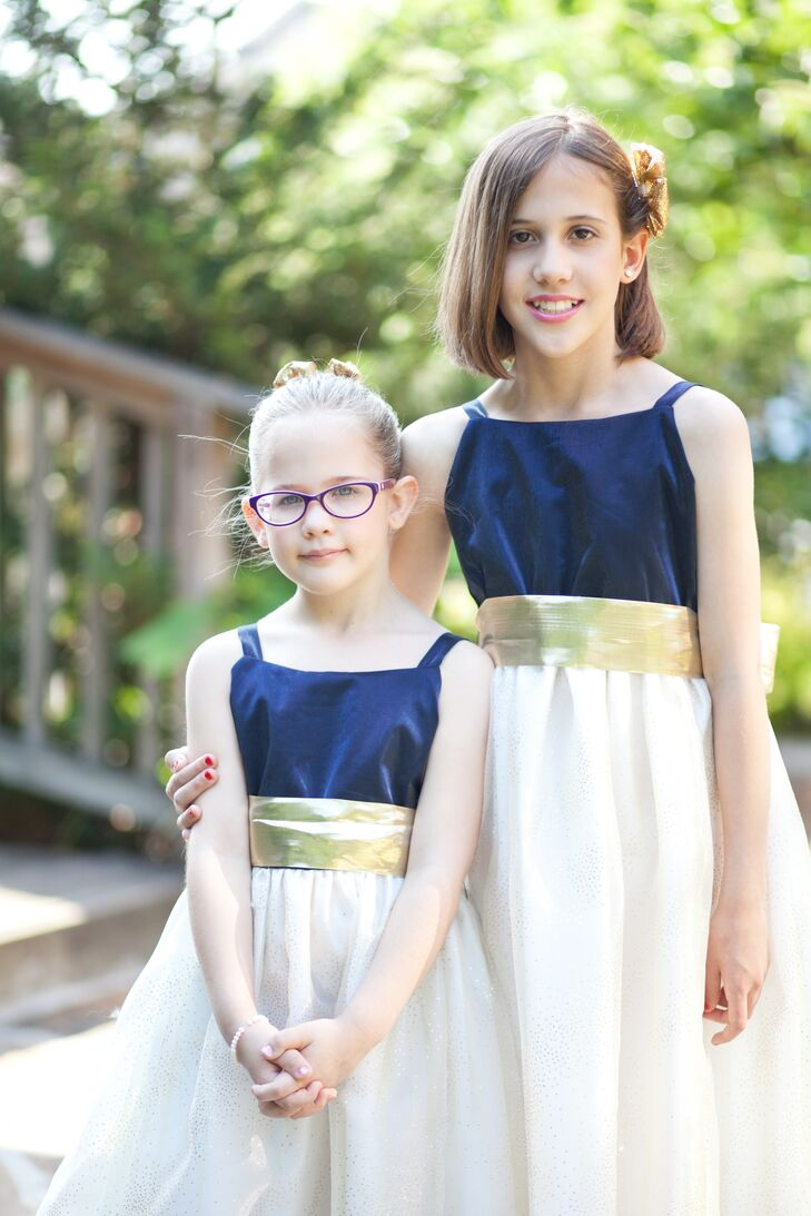 Navy Bodice Gold Belt Flower Girl Dresses