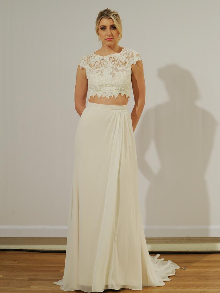 Moonlight 39 s fall 2015 wedding dresses are elegant works of art for Crop top wedding dress