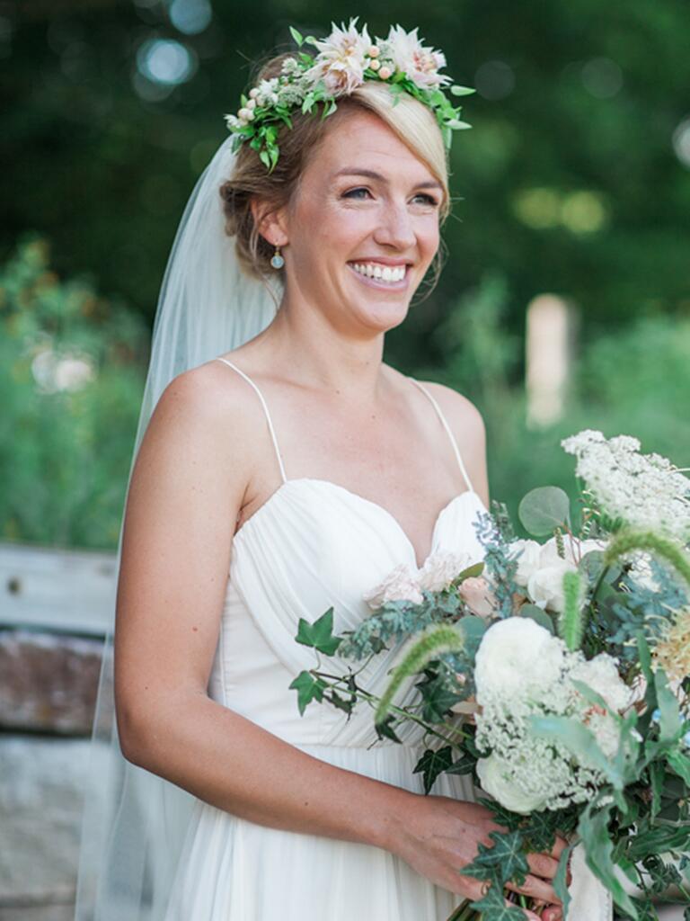 Blushing bride flower crown with a long wedding veil