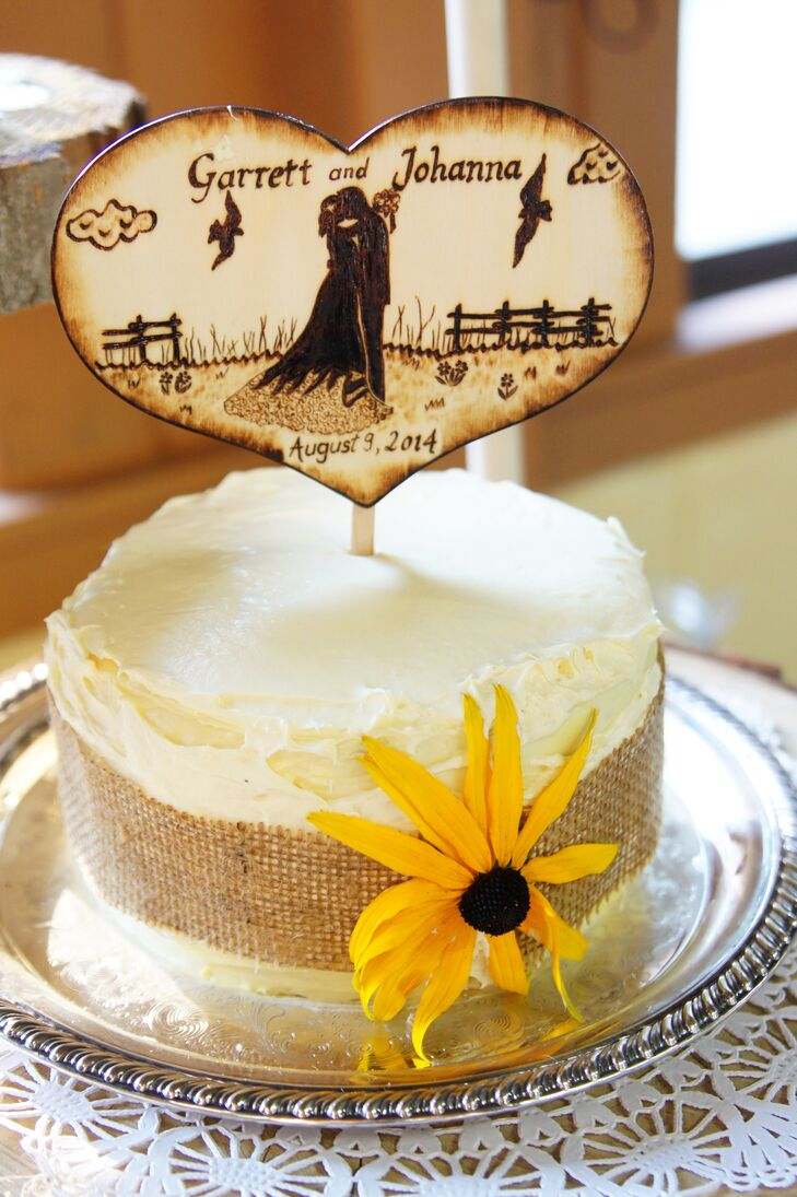 Wedding Cake with Burlap and Wooden Cake Topper