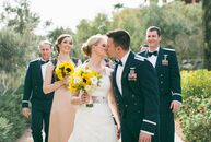 Chelsey and Wes's spring wedding at the Westin Lake Las Vegas was a sophisticated affair with a cheerful yellow color palette, elegant modern floral a