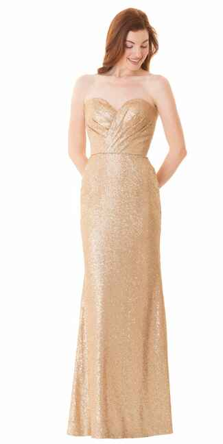 gold bridesmaid dress by Bari Jay