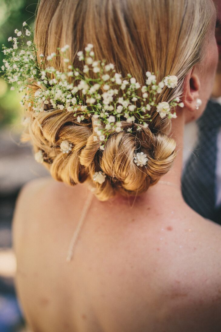 low-bun accessories bridal hairstyle