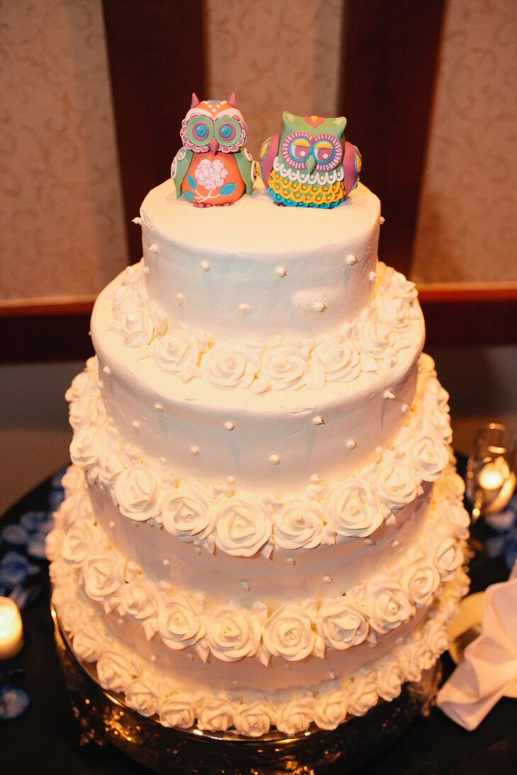Three-Tier White Wedding Cake with Rosettes and Owl Cake Topper