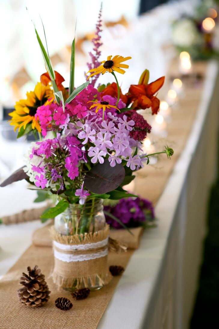 DIY Wildflower Centerpieces Wrapped with Burlap and Lace