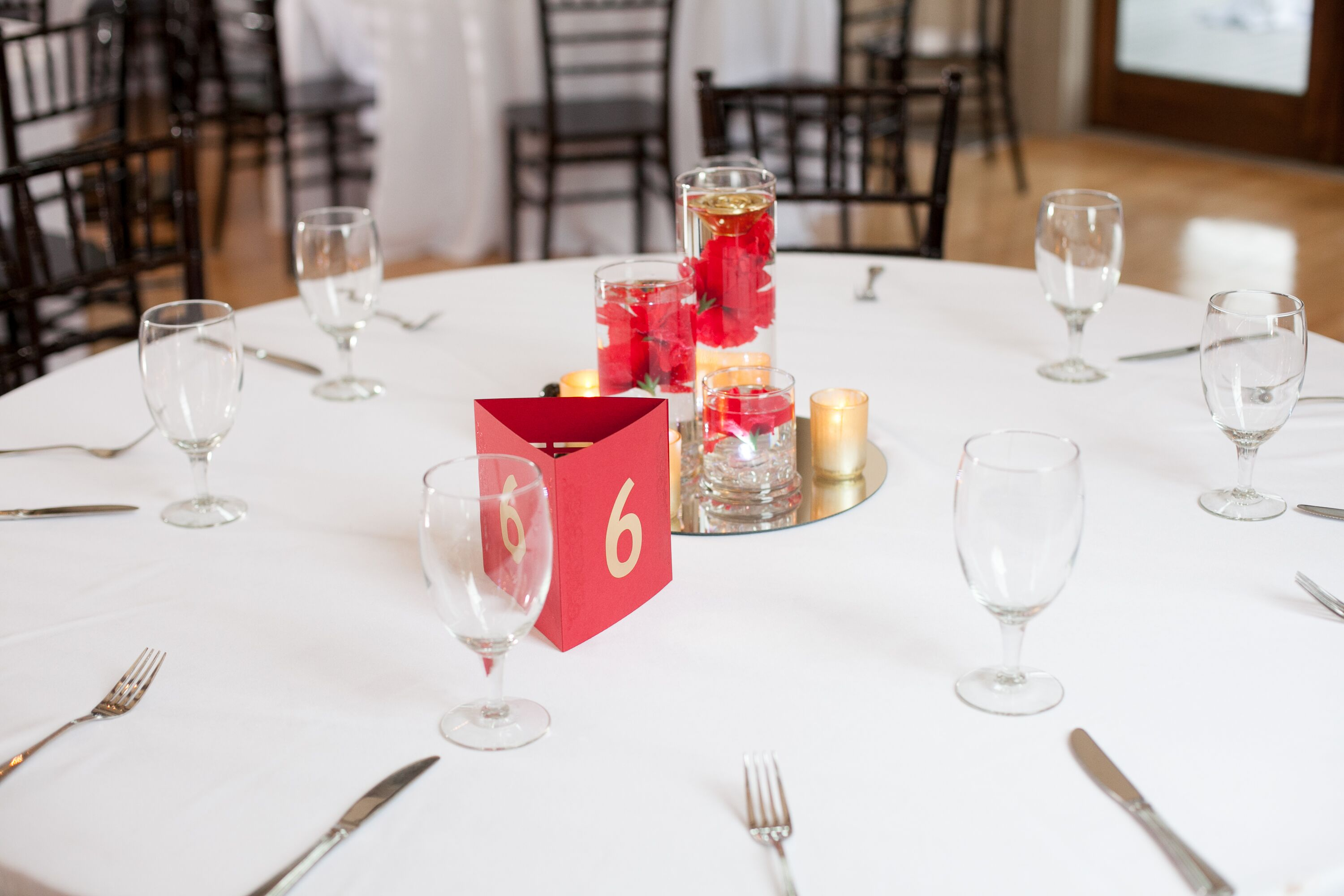 Red Carnation Floating-Candle Centerpieces