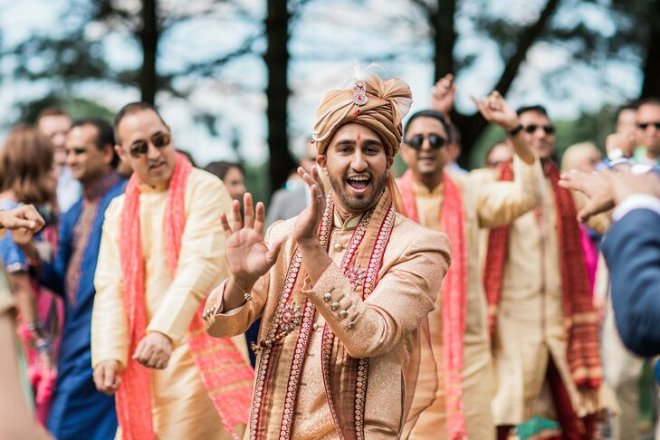 The groom, Vikas, walked to the Hindu ceremony site in the traditional procession after his grand entrance on a helicopter.