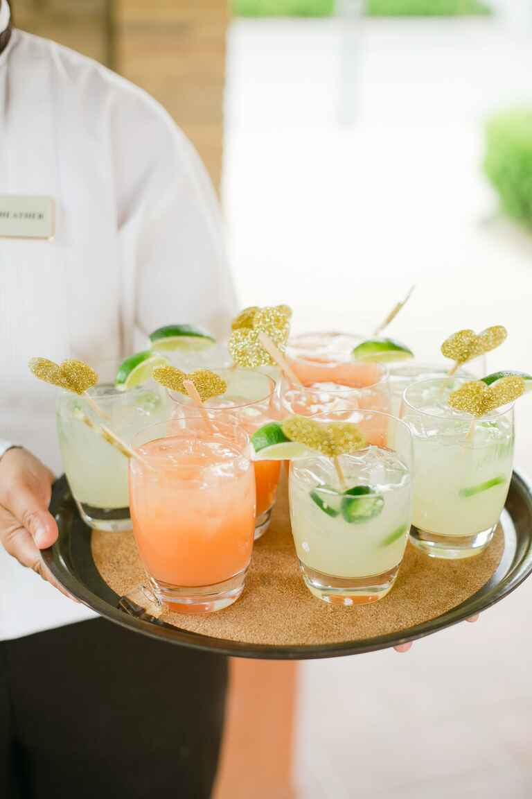 Pink And Green Cocktails With Gold Glitter Heart Drink Stirrers