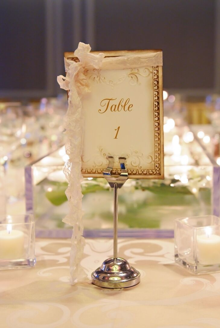 Gold Embossed Table Numbers in Gold Frame