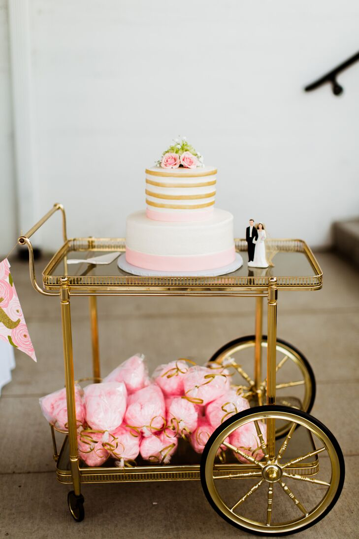 Wedding Cake On Vintage Gold Bar Cart
