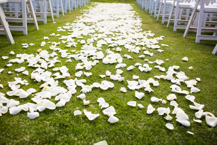White Rose Petals Down The Ceremony Aisle