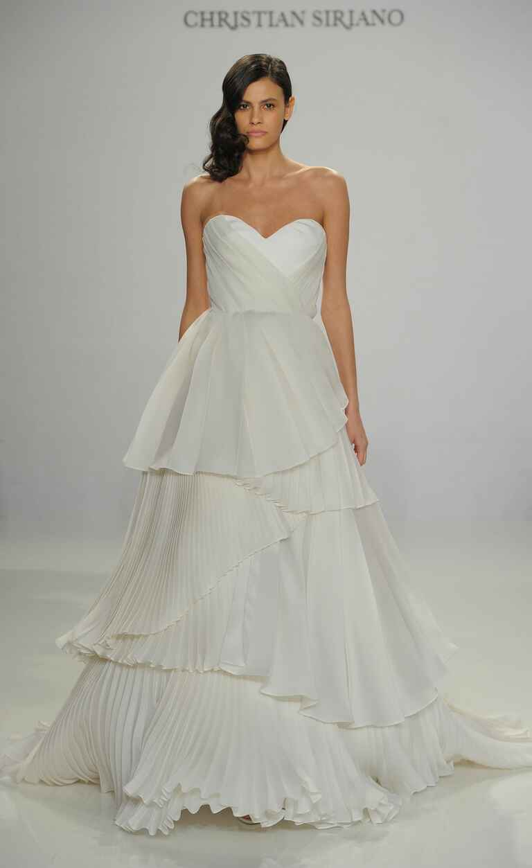 Christian Siriano Spring 2017 pleated strapless wedding dress