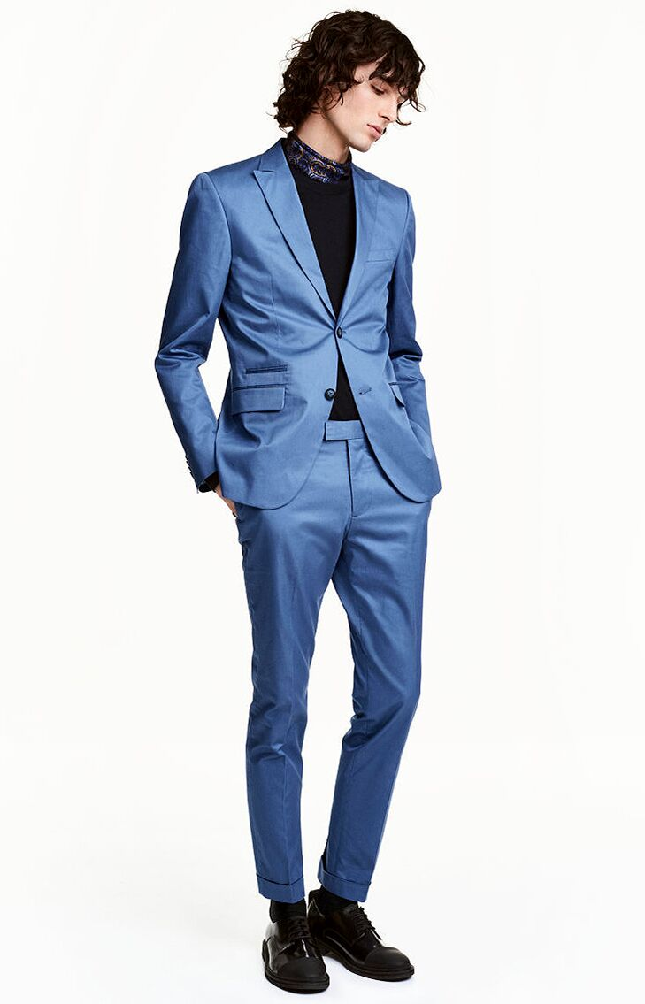 Blue Cotton Pants Mens Beach Wedding Attire