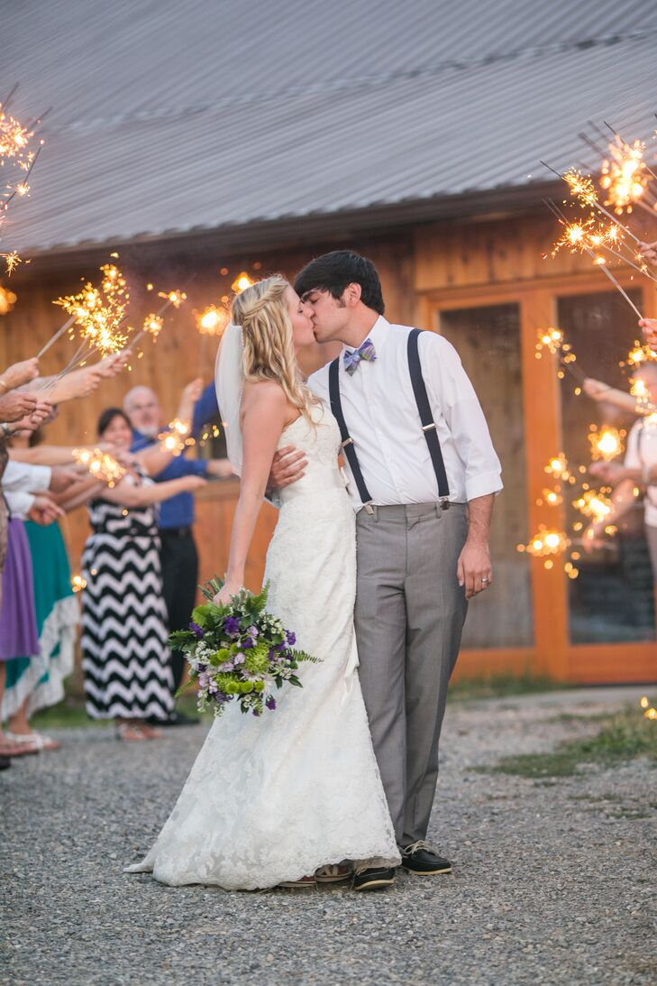 Guests waved sparklers as Jaime and Seth exited their reception.
