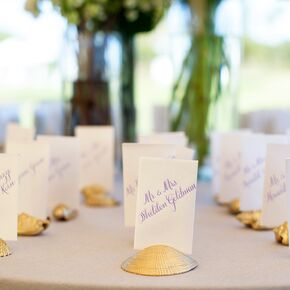 Gold Seashell Escort Card Holders