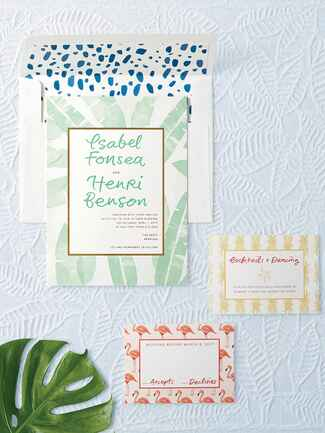Bella Figura tropical themed wedding stationery