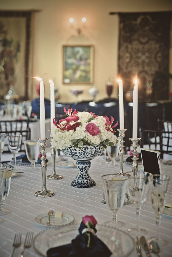 Pink and White Floral Centerpiece with Candlelight