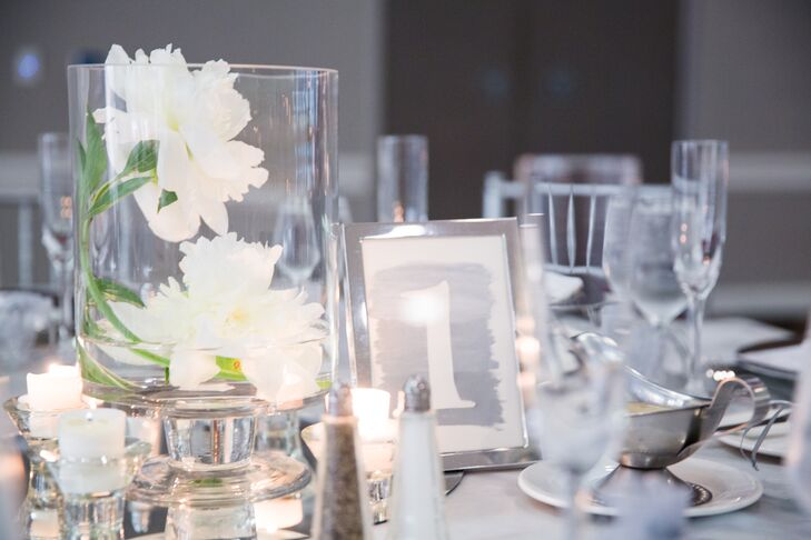 Candlelit Ivory and Silver Centerpiece