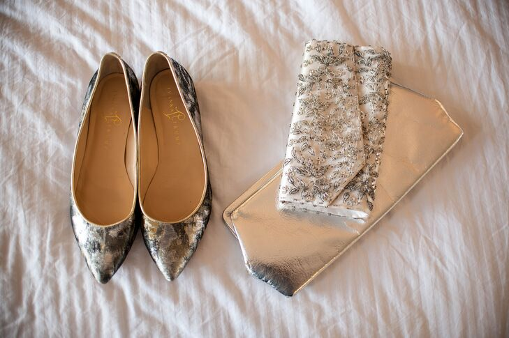 Silver and Gray Pointed Toe Shoes