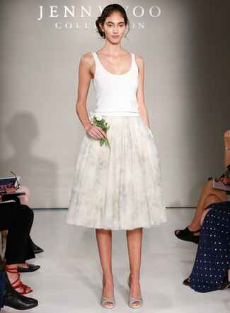 Jenny Yoo Fall 2016 wedding dress with white tank top and blush and light grey patterned tea length skirt