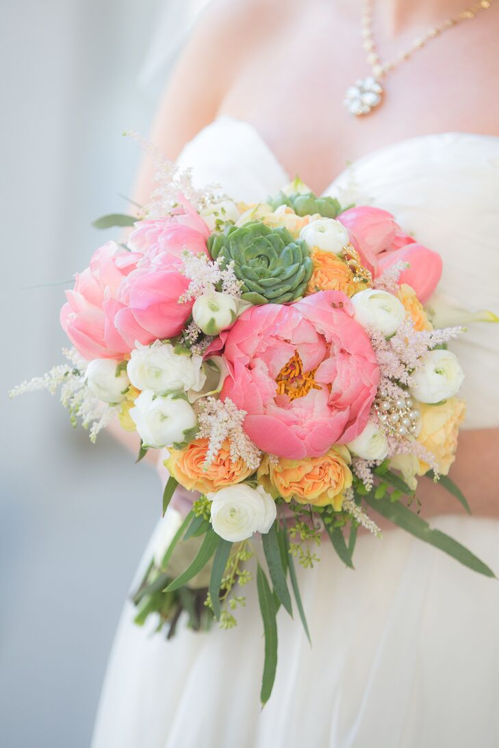 Pink Peony and Succulent Bouquet