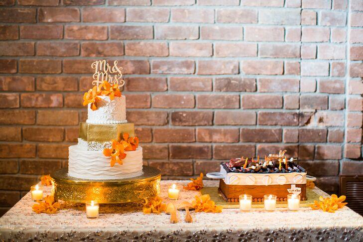 Gold White And Orange Wedding Cake