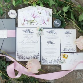 Lavender And Gray Floral Invitations